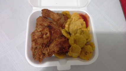 Fried chicken and tostones (fried plaintain slices) for $3