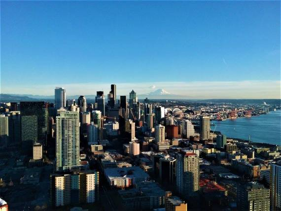 Mount Ranier and Seattle from the Space Needle