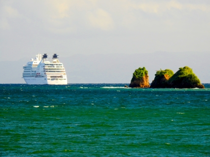 Cruise ship in Samana Bay